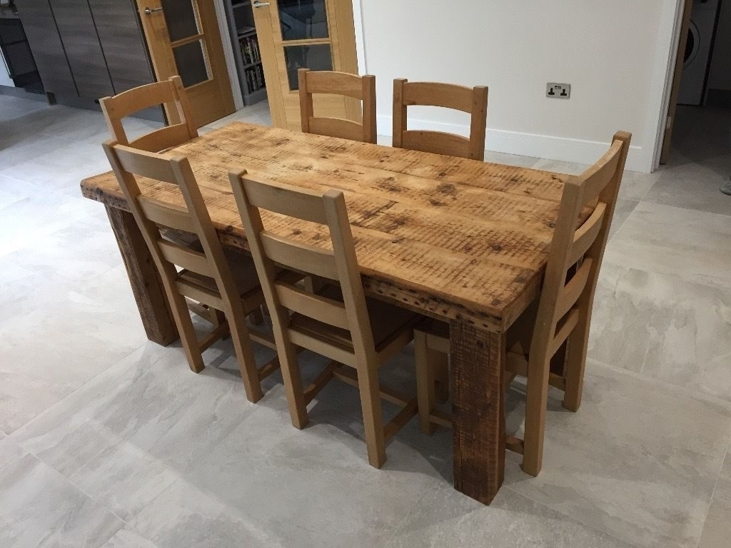 Popular Solid Oak Dining Tables And 6 Chairs Within Solid Oak Dining Table With 6 Chairs – Onlinemedguide (Gallery 10 of 25)