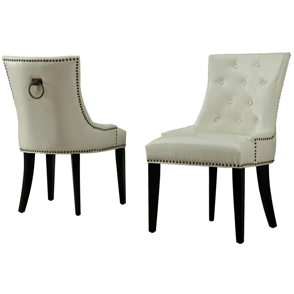Popular Tov Furniture Uptown Cream Dining Chair (Set Of 2) In Cream Leather Dining Chairs (View 22 of 25)
