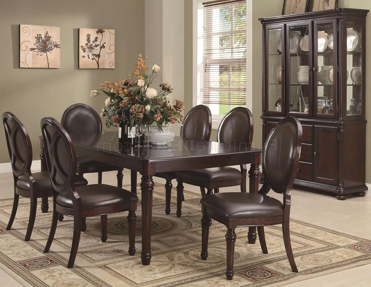 Popular Traditional Dining Tables With Regard To Brown Cherry Finish Traditional Dining Table W/optional Items (View 14 of 25)