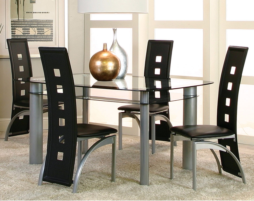 Popular Valencia 5 Piece Counter Sets With Counterstool With Regard To Modern Black, Glass Dinette Set (View 3 of 25)