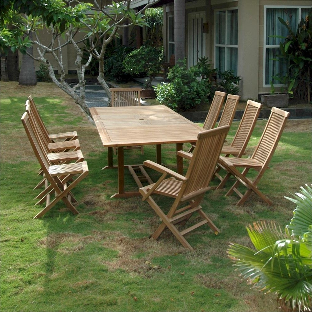 Popular Valencia 72 Inch 6 Piece Dining Sets Inside Valencia 11 Piece Teak Patio Dining Set W/ 79 X 43 Inch Rectangular (View 12 of 25)