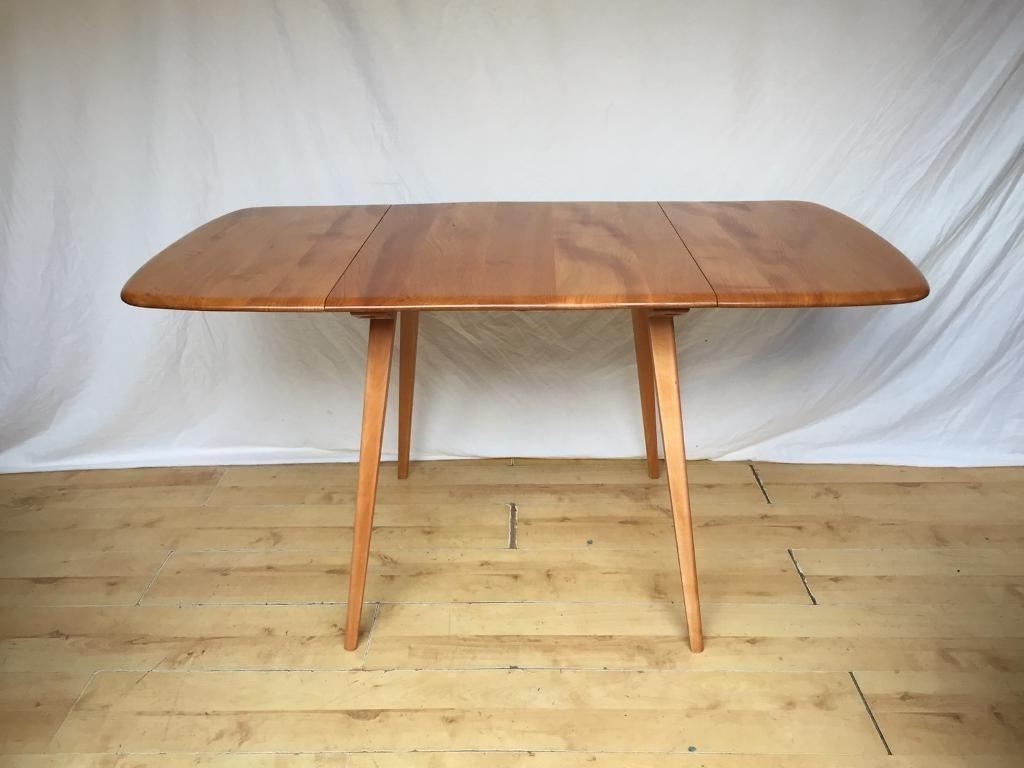 Popular Vintage Ercol Mid Century Plank Extending Folding Drop Leaf Kitchen Throughout Norwood Rectangle Extension Dining Tables (View 21 of 25)