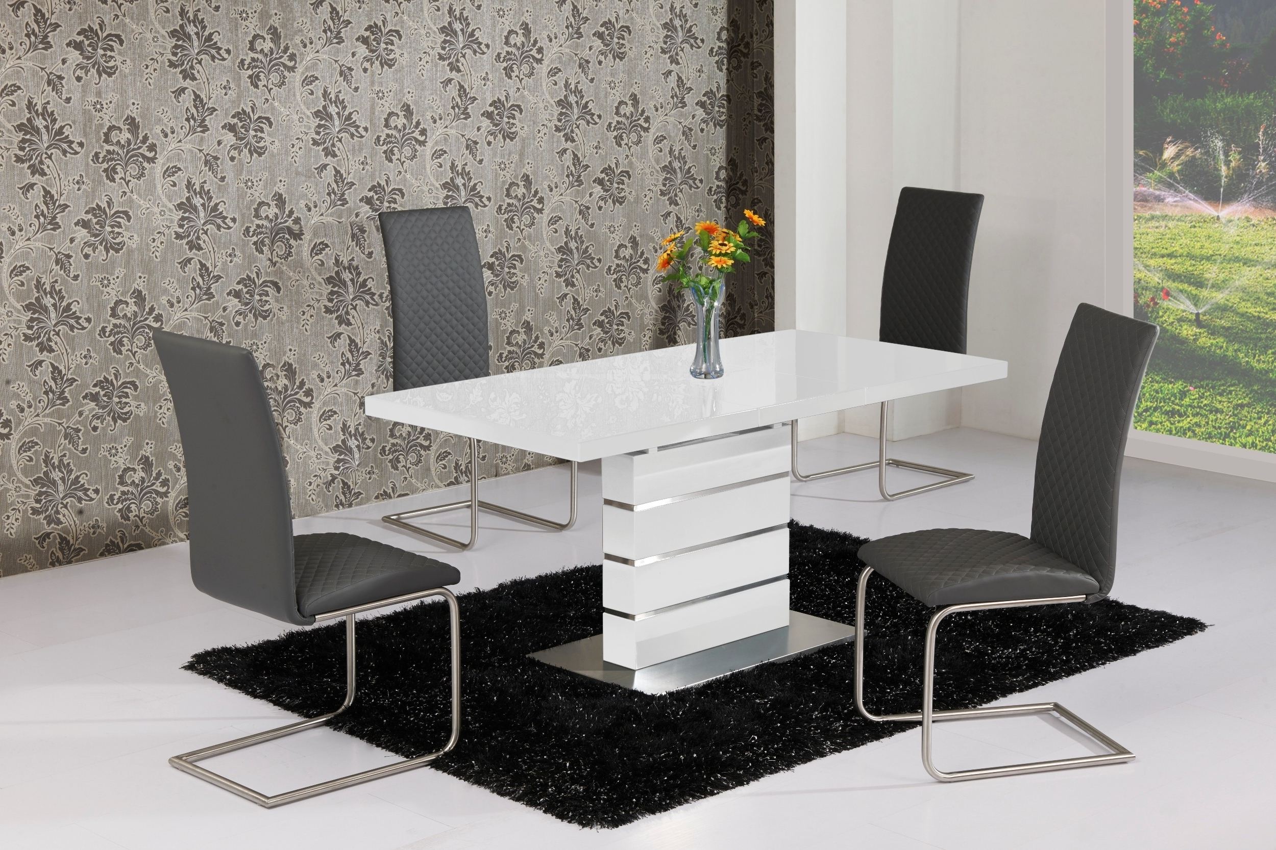 Popular White Gloss Dining Tables 120Cm Pertaining To Buy Allison Stylish High Gloss White Extending Table 120Cm – 160Cm (View 4 of 25)