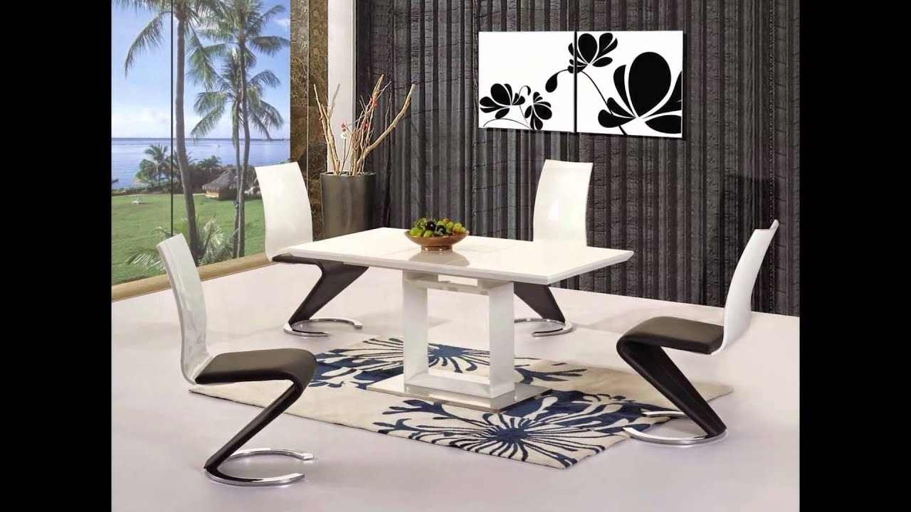 Popular White High Gloss Black Glass Dining Table And 6 Chairs Set – Youtube For Black Gloss Dining Tables And 6 Chairs (View 20 of 25)