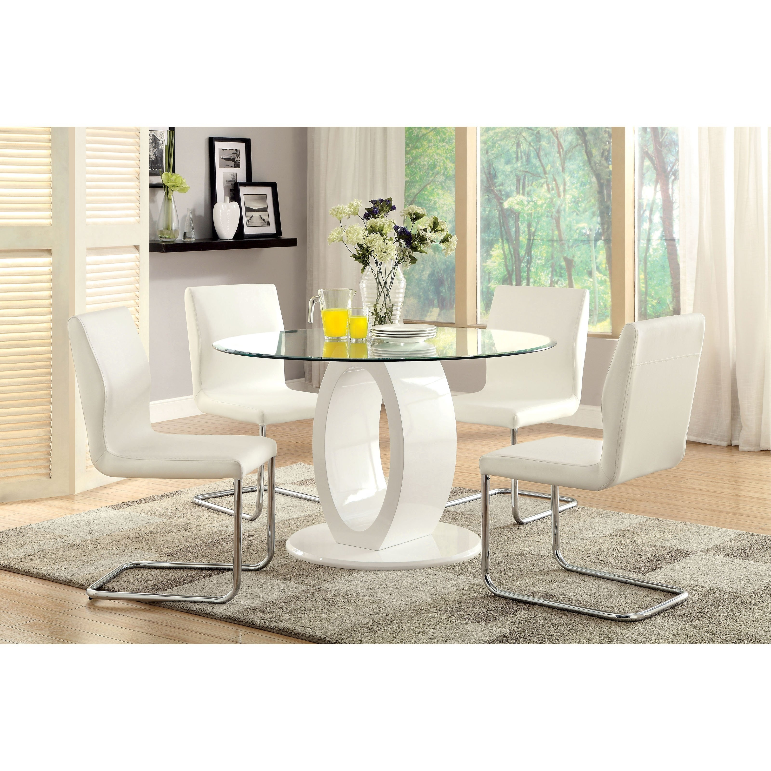 Popular White High Gloss Oval Dining Tables For Furniture Of America Damore Contemporary High Gloss Round Dining In (Gallery 24 of 25)