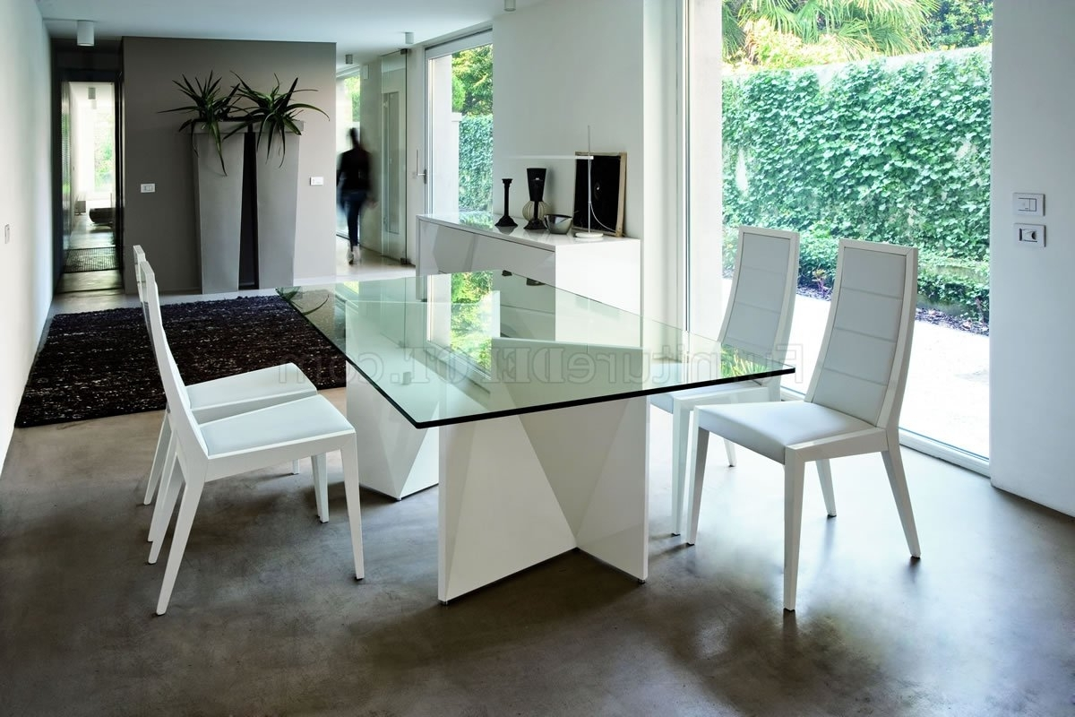 Popular White Ultra Modern Dining Table W/two Pedestal Legs & Glass Top Inside Dining Tables With White Legs (View 13 of 25)