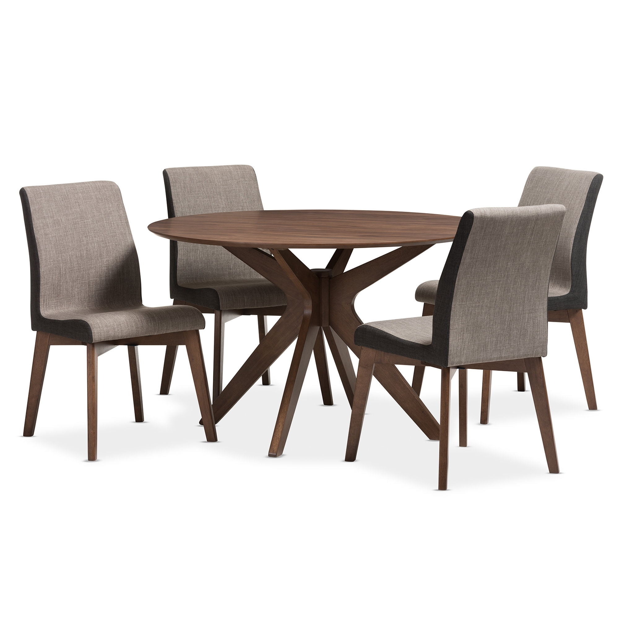 Popular Wholesale Interiors Kimberly Mid Century Modern Wood Round 5 Piece Within Laurent 5 Piece Round Dining Sets With Wood Chairs (View 13 of 25)
