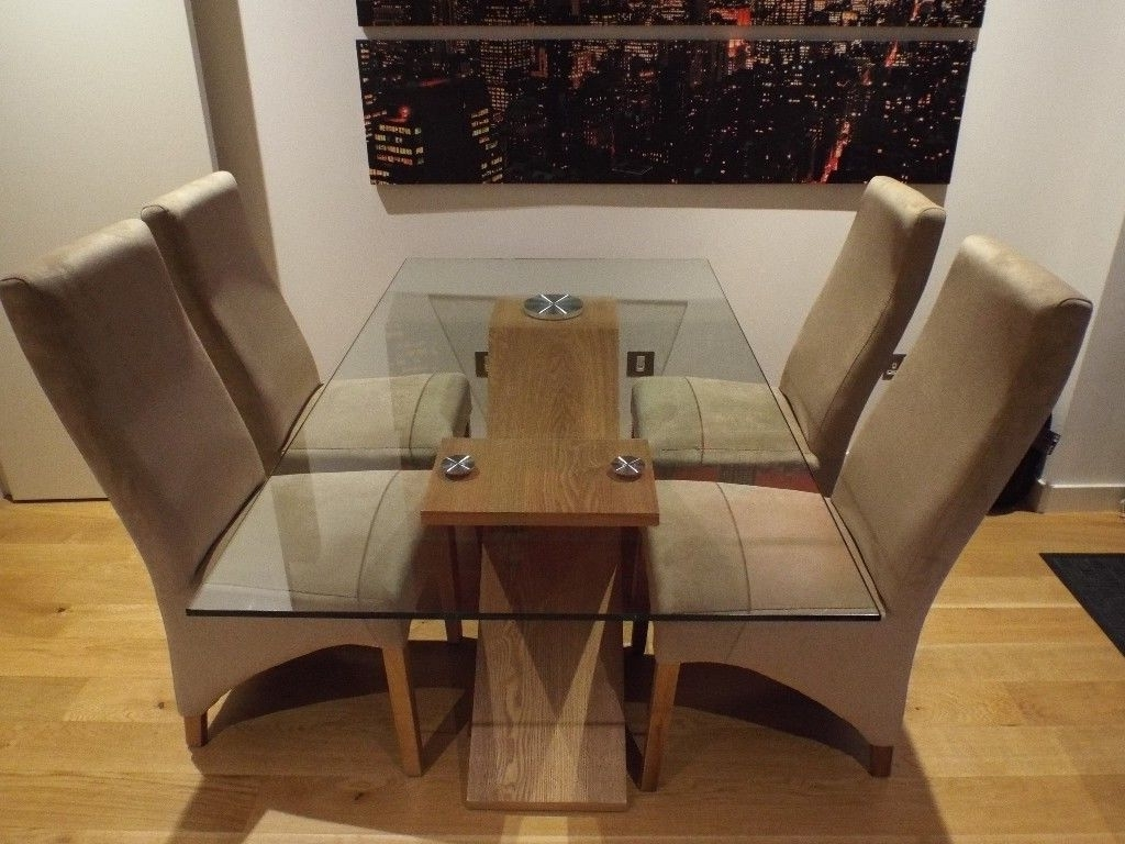 Popular Wood Glass Dining Tables Inside Valencia Oak 160Cm Wood And Glass Dining Table With 4 Lola Dining (Gallery 18 of 25)