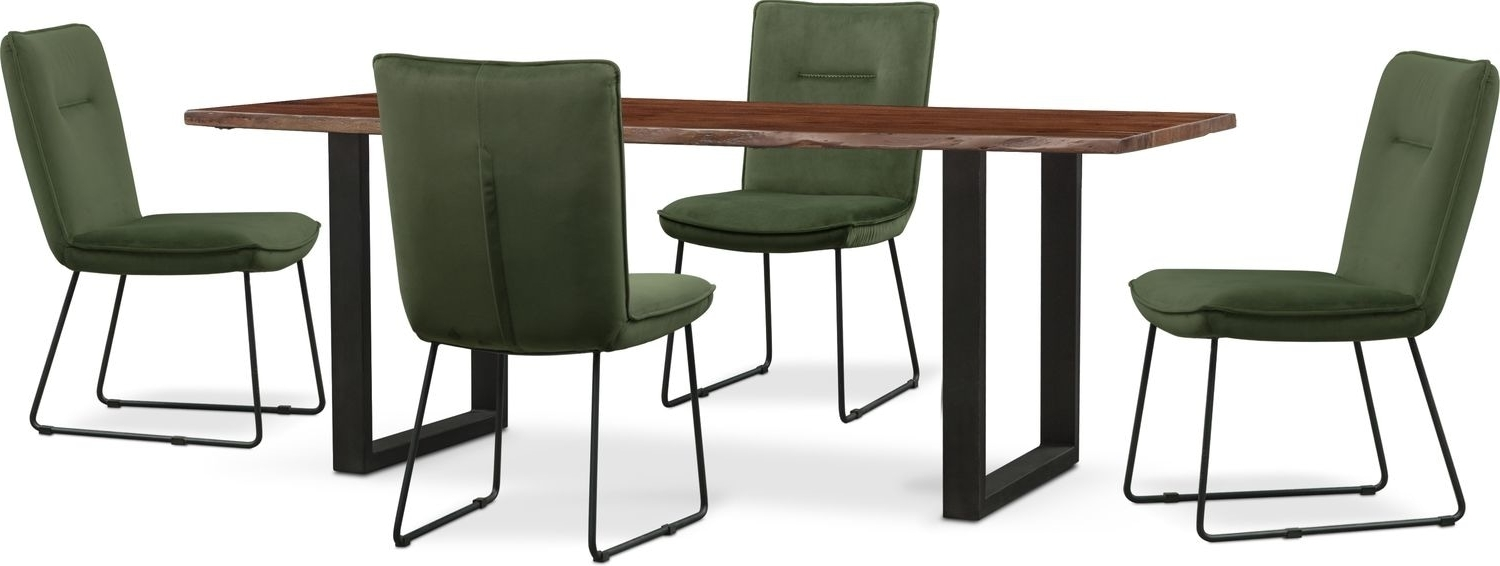 Portland Dining Tables With 2017 Portland Dining Table And 4 Upholstered Side Chairs – Hunter Green (View 14 of 25)