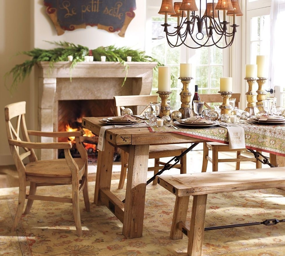 Pottery Barn Wooden Kitchen Table Wood Seat Chair Toscana Wood Bench For Most Popular Toscana Dining Tables (View 23 of 25)