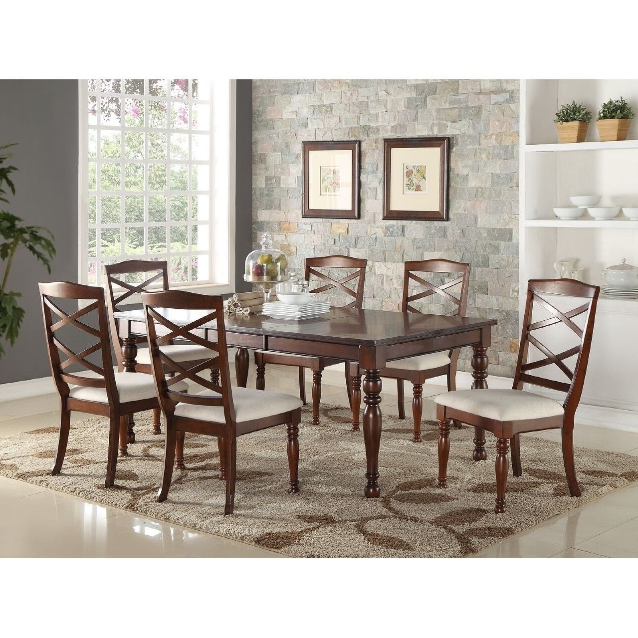 Poundex Tartar 7 Piece Traditional Dining Set (Cherry – Cherry With Regard To Favorite Traditional Dining Tables (Gallery 25 of 25)