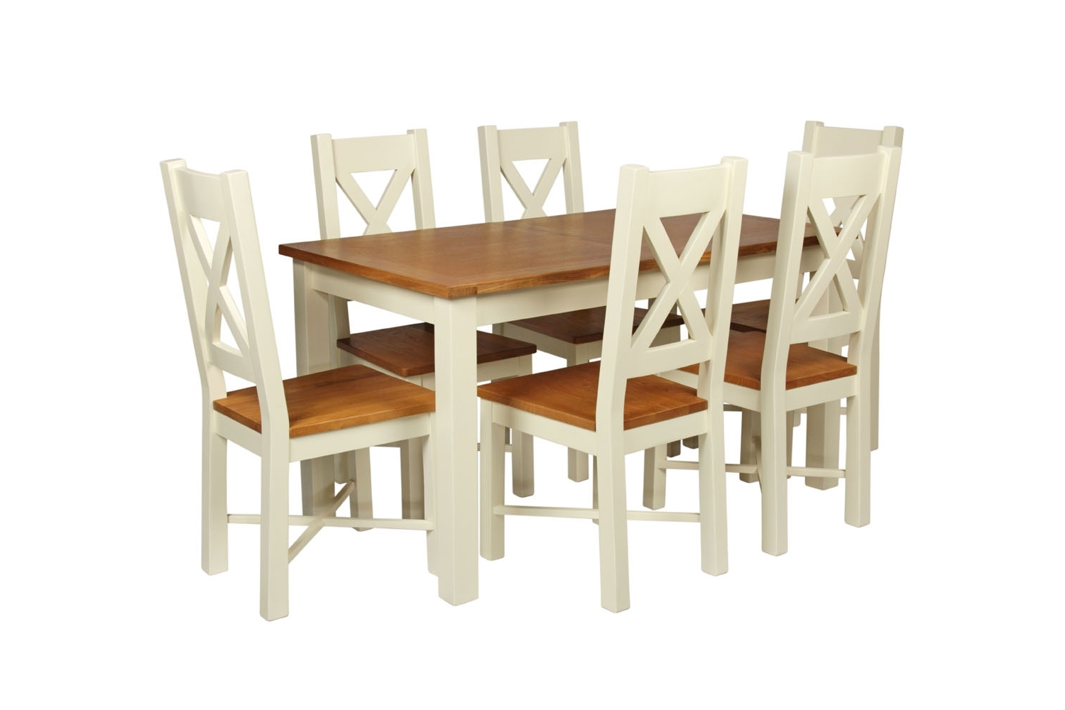 Preferred 180Cm Dining Tables Regarding Country Oak 180Cm Cream Painted Extending Dining Table & 6 Grasmere (View 21 of 25)