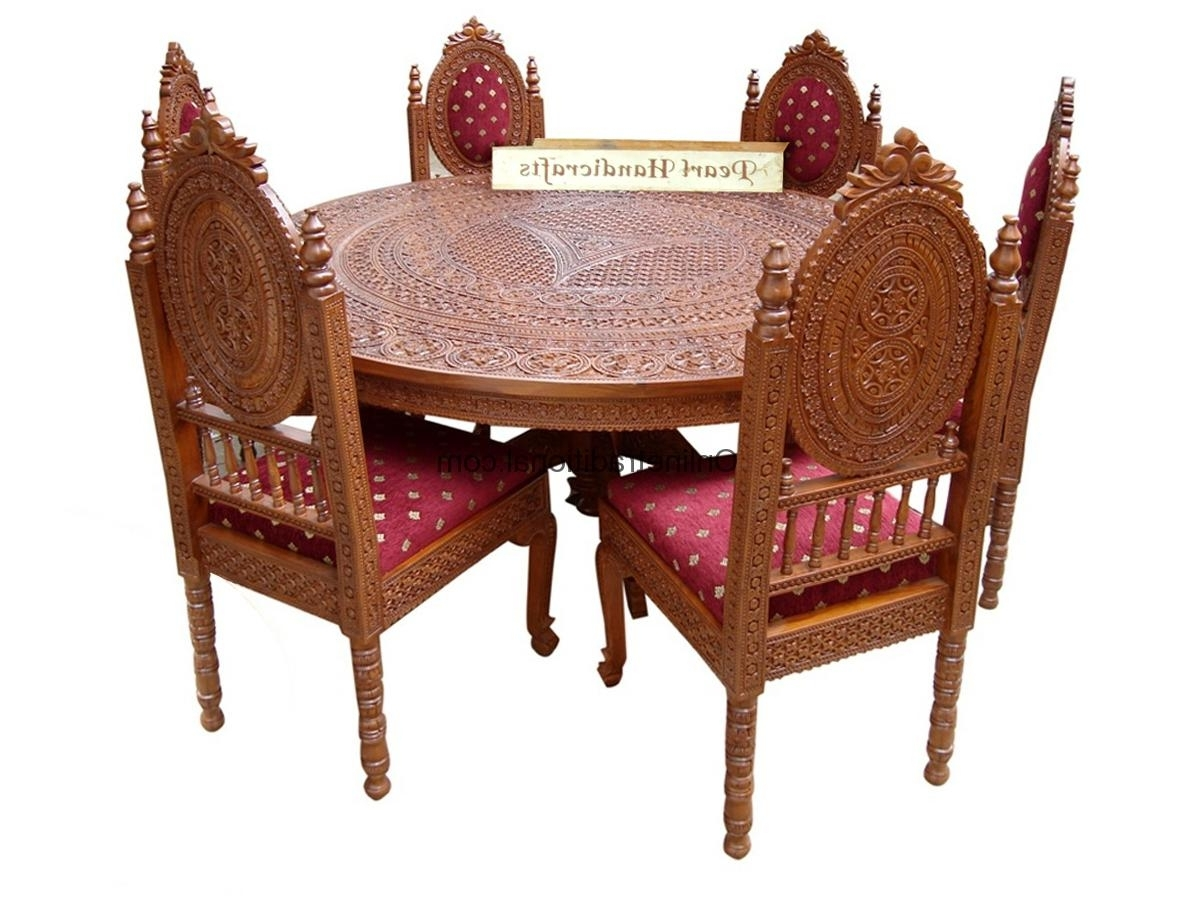 Preferred 4/four Chairs/seater Wooden Round Teak Dining Table Sets For Home Within Indian Dining Room Furniture (View 4 of 25)