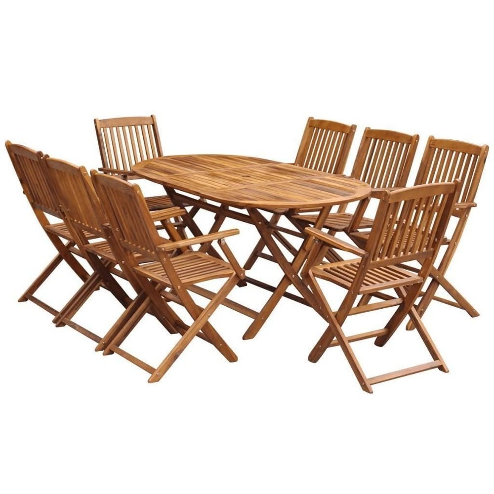 Preferred 8 Seater Outdoor Dining Set Acasia Wood Folding Oval Tables Throughout Oval Folding Dining Tables (Gallery 21 of 25)