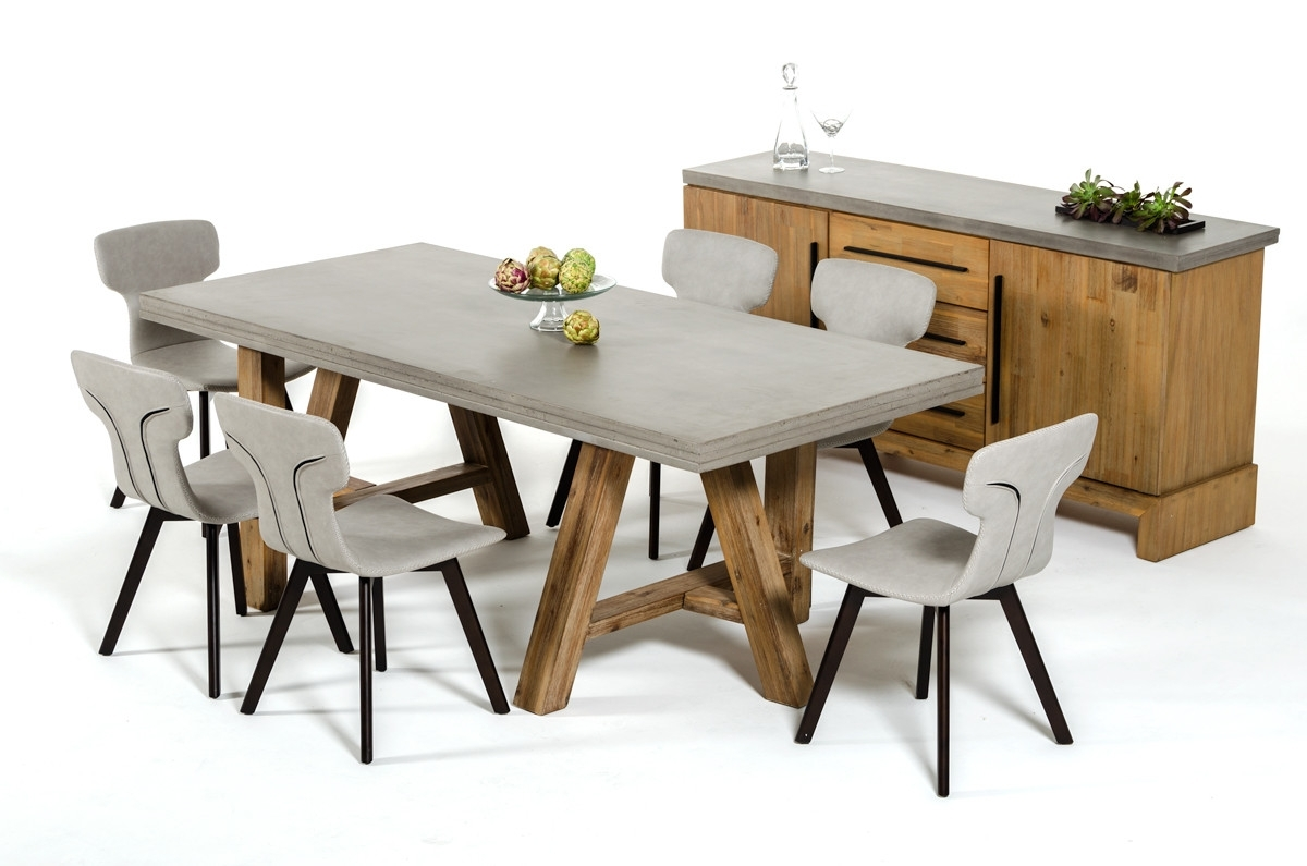 Preferred Acacia Dining Tables For Modrest Civic Modern Concrete & Acacia Dining Table (View 19 of 25)