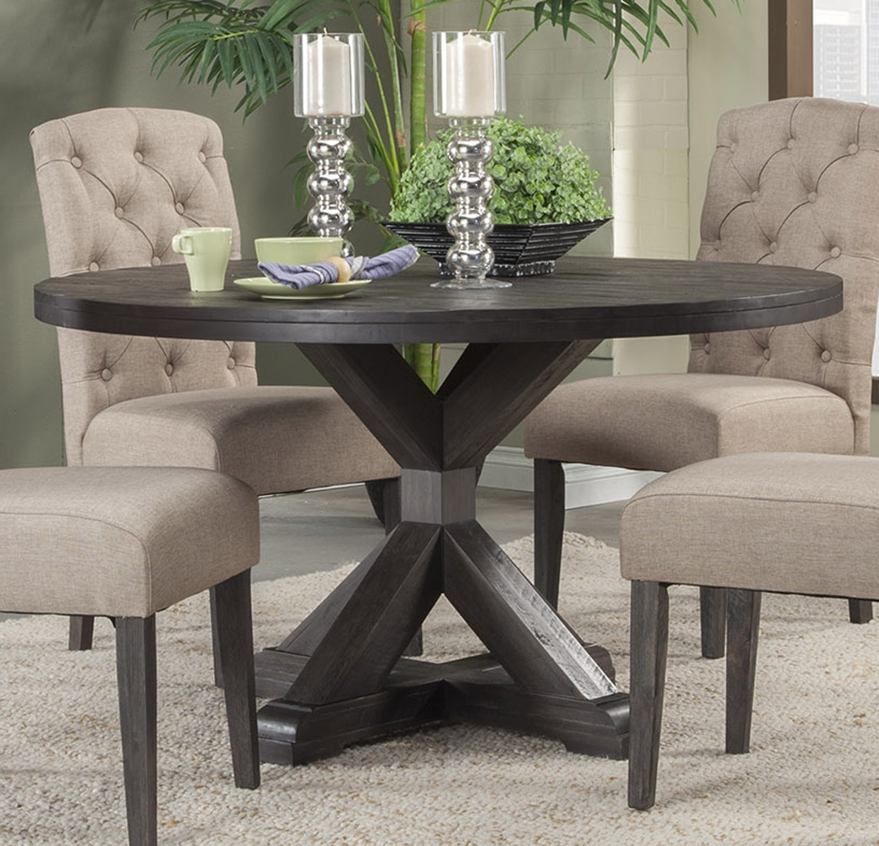Preferred Alpine Furniture Newberry Round Dining Table In Salvaged Grey 1468 With Dining Tables Grey Chairs (Gallery 8 of 25)