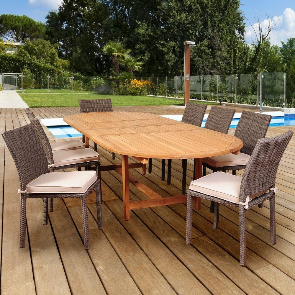 Preferred Amazonia Knight 9 Piece Teak/wicker Double Extendable Oval Patio Throughout Outdoor Brasilia Teak High Dining Tables (View 24 of 25)