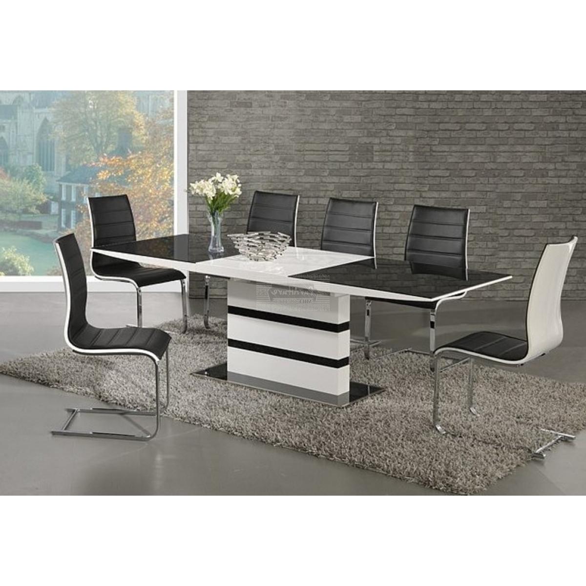 Preferred Arctic Black Glass And White High Gloss Extending Dining Table Set With White Gloss Dining Tables 120Cm (View 22 of 25)