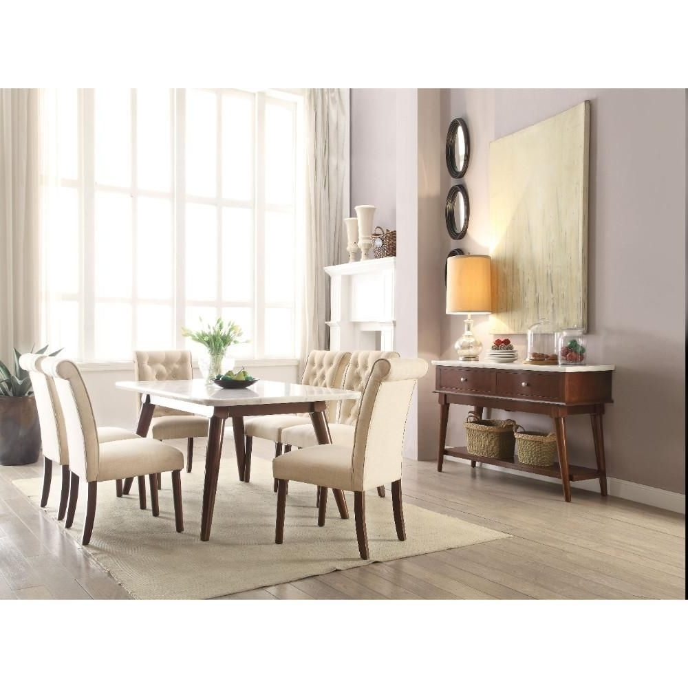 Preferred Astonishing Dining Table, White Marble & Walnut Brownacme In Regarding Kirsten 6 Piece Dining Sets (View 24 of 25)