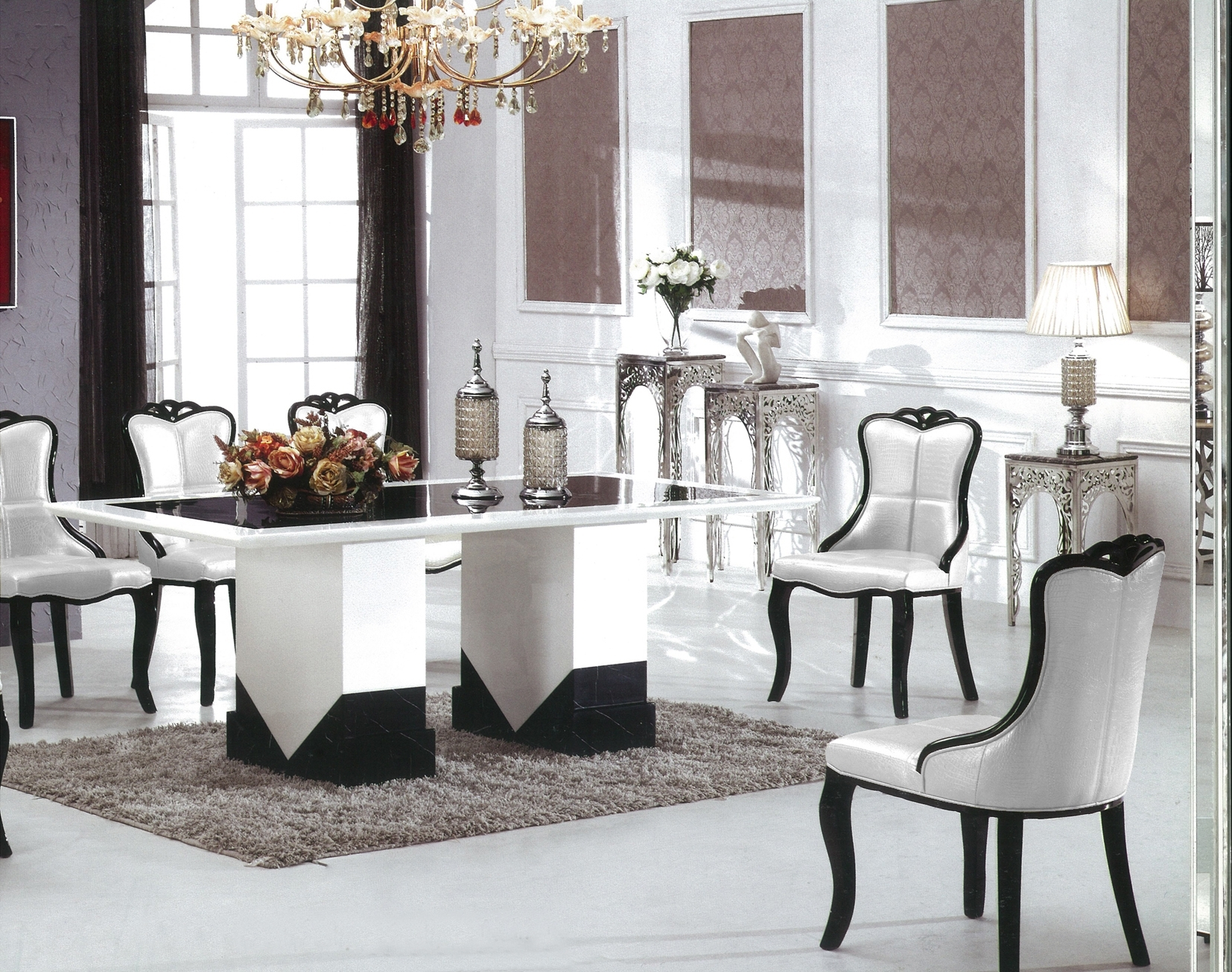Preferred Black 8 Seater Dining Tables With Regard To Barcelona Marble Dining Table With 8 Chairs (View 20 of 25)