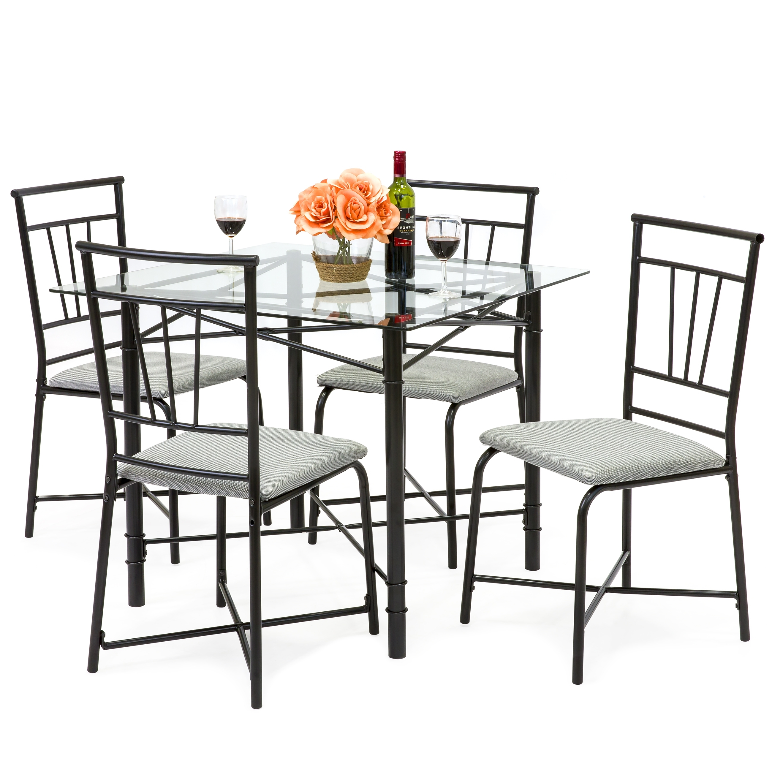 Preferred Black Glass Dining Tables And 4 Chairs Throughout Best Choice Products 5 Piece Square Glass Dining Table Set W/ 4 Upholstered  Chairs (Gallery 23 of 25)