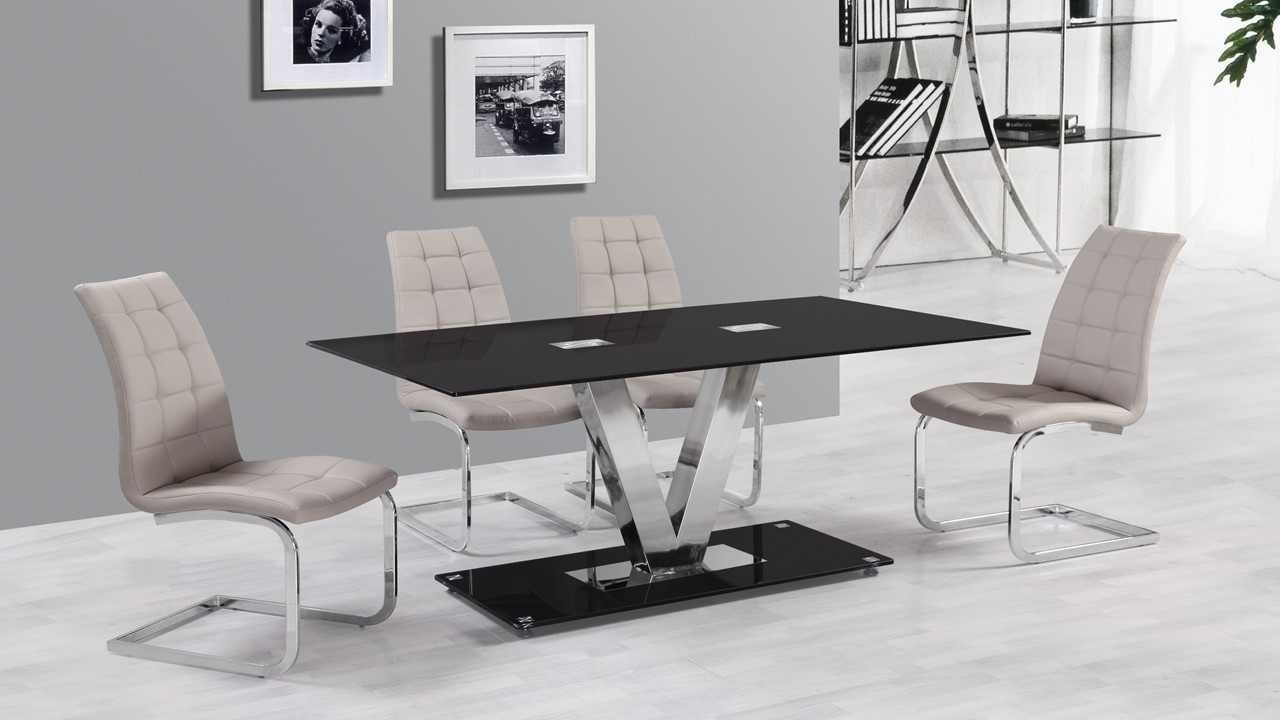Preferred Black Glass Dining Tables And 6 Chairs Throughout 6 Seater Black Glass Dining Table And Grey Chairs Homegenies Teak (Gallery 14 of 25)