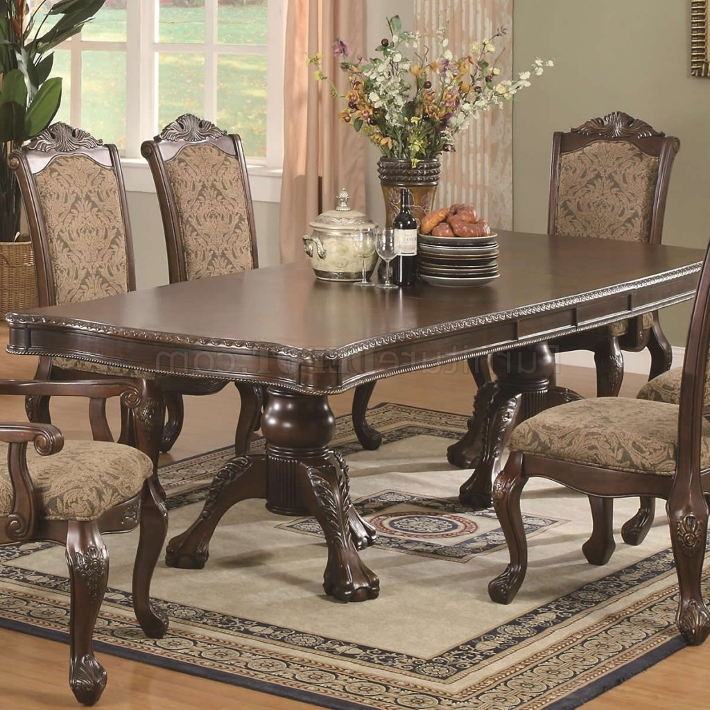Preferred Brown Cherry Finish Traditional Dining Table W/extension Leaf Regarding Traditional Dining Tables (View 16 of 25)
