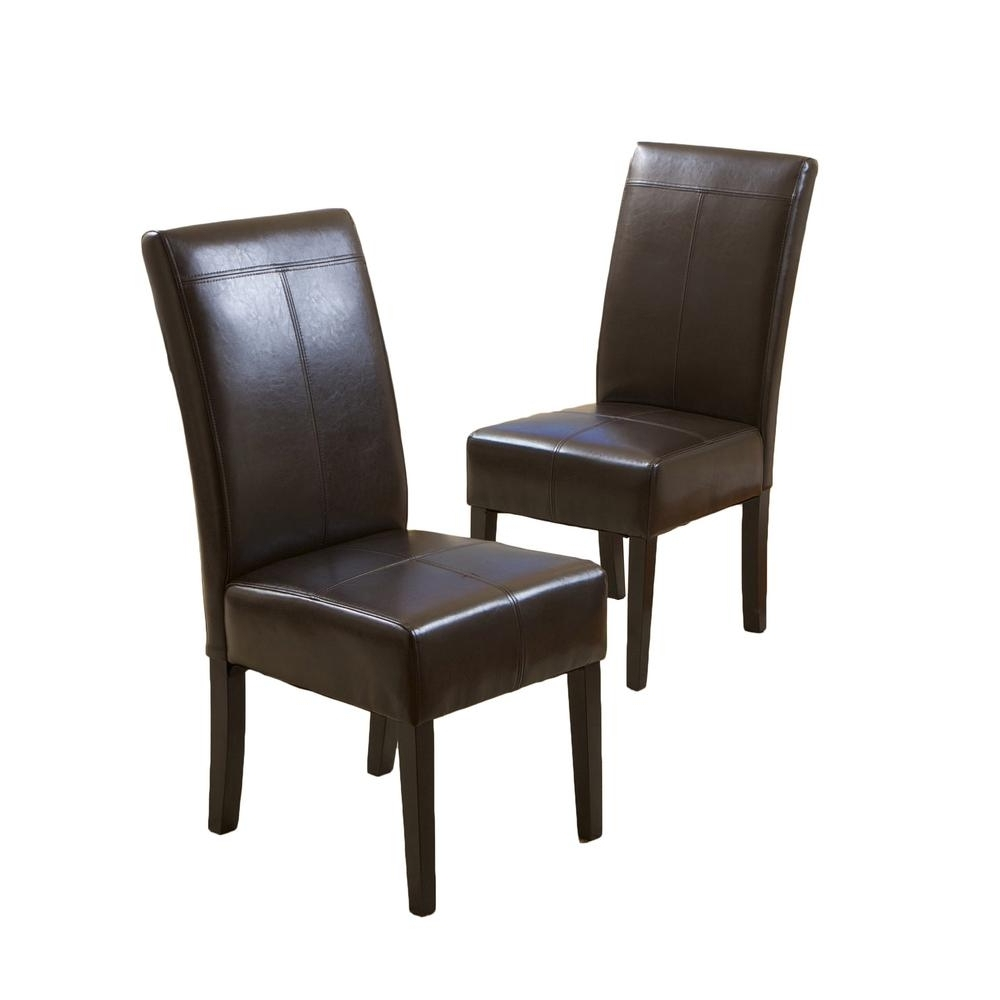 Preferred Brown Leather Dining Chairs For Pertica Brown Leather T Stitch Dining Chairs (Set Of 2) 218818 – The (View 10 of 25)