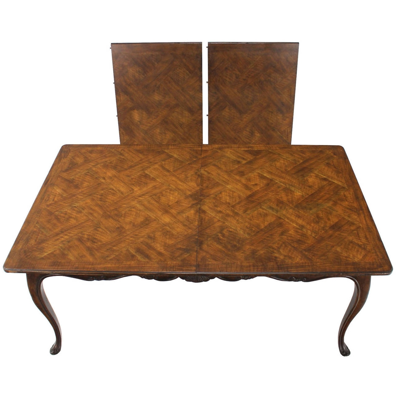 Preferred Burwood Walnut Dining Tableheritage W/ One Extension Leaf With Regard To Parquet Dining Tables (View 10 of 25)