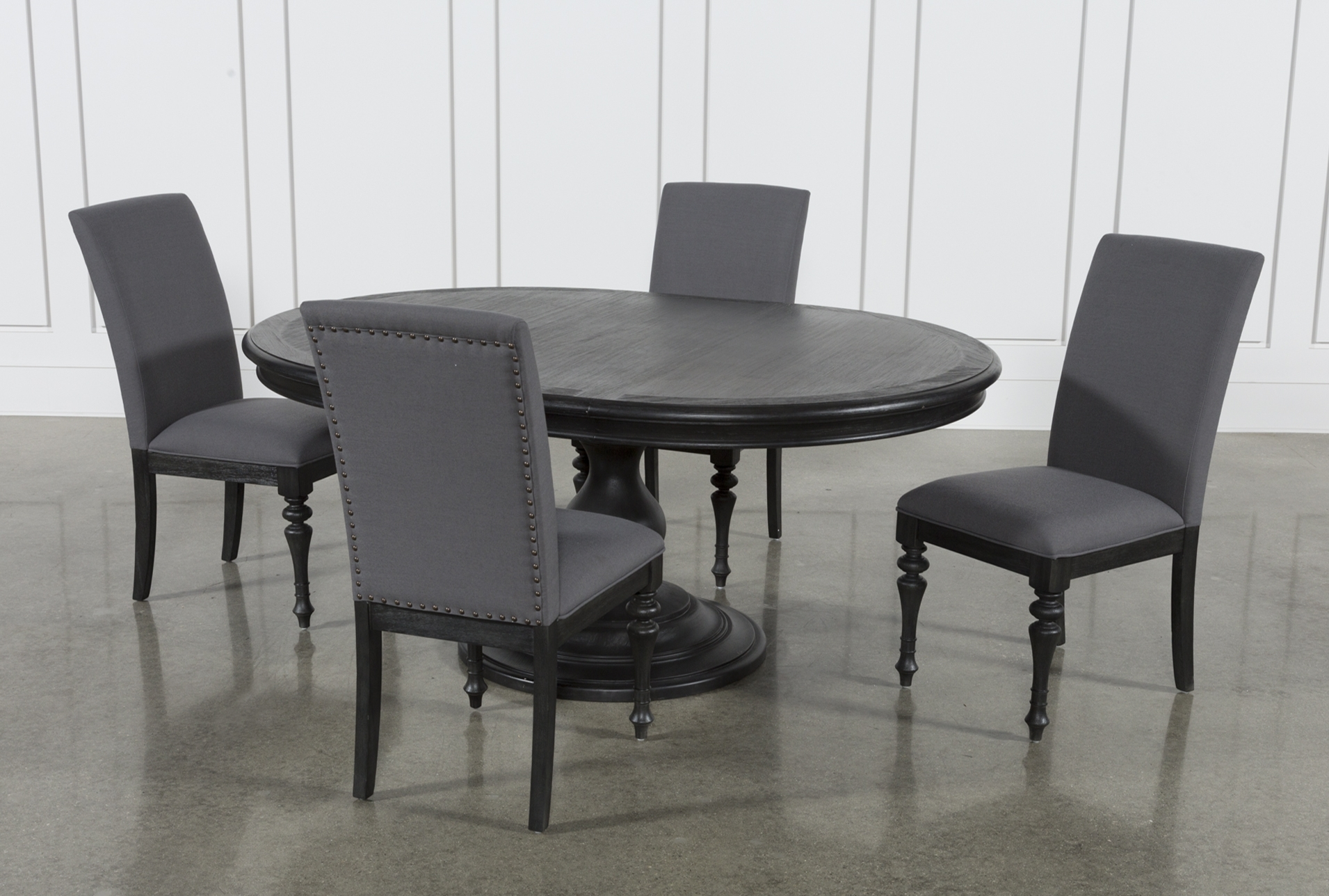 Preferred Caira Black 7 Piece Dining Sets With Upholstered Side Chairs Throughout Global Furniture Bar Table Black (View 8 of 25)