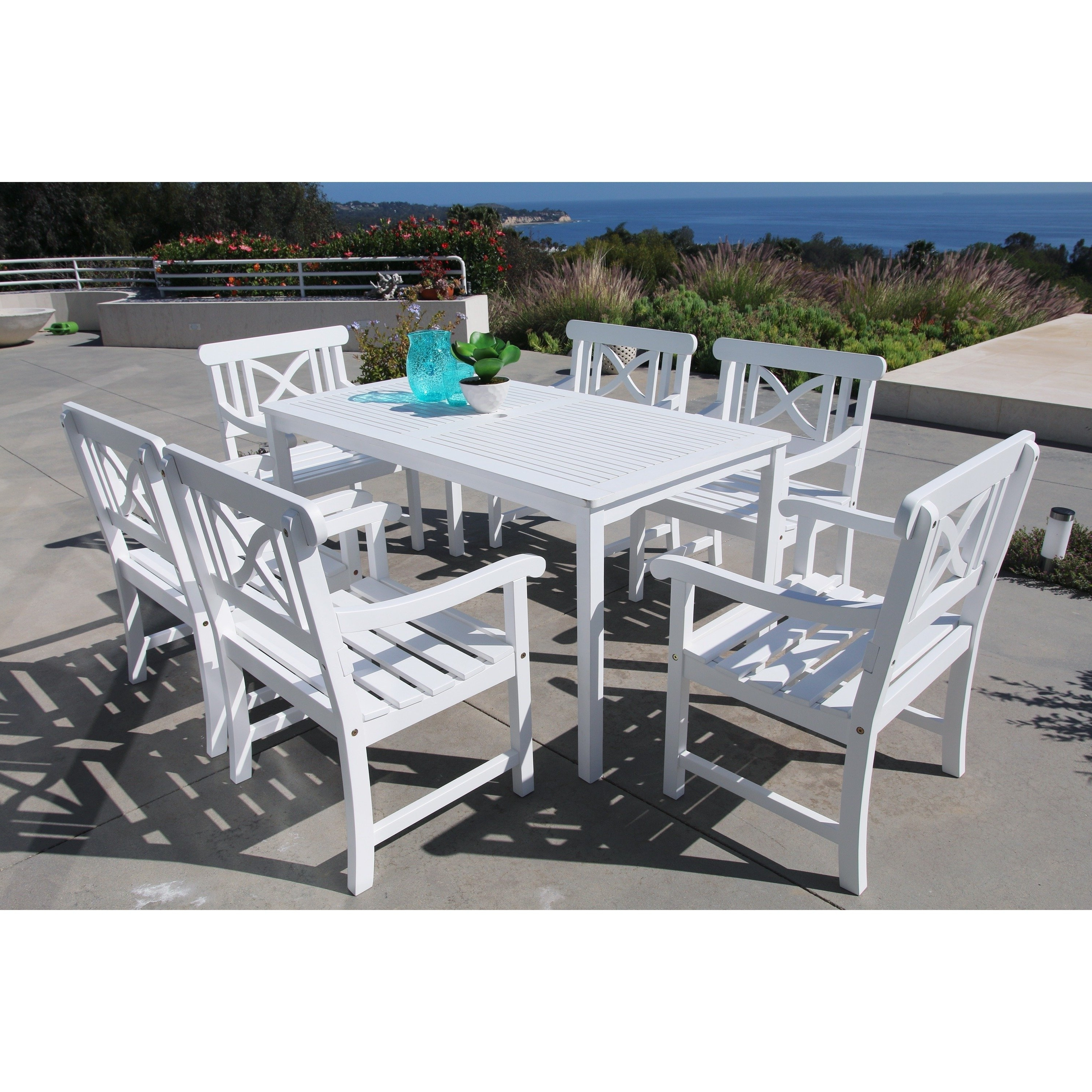 Preferred Candice Ii 7 Piece Extension Rectangular Dining Sets With Uph Side Chairs Throughout Shop The Gray Barn Bluebird 7 Piece Table And Arm Chair Outdoor (View 16 of 25)