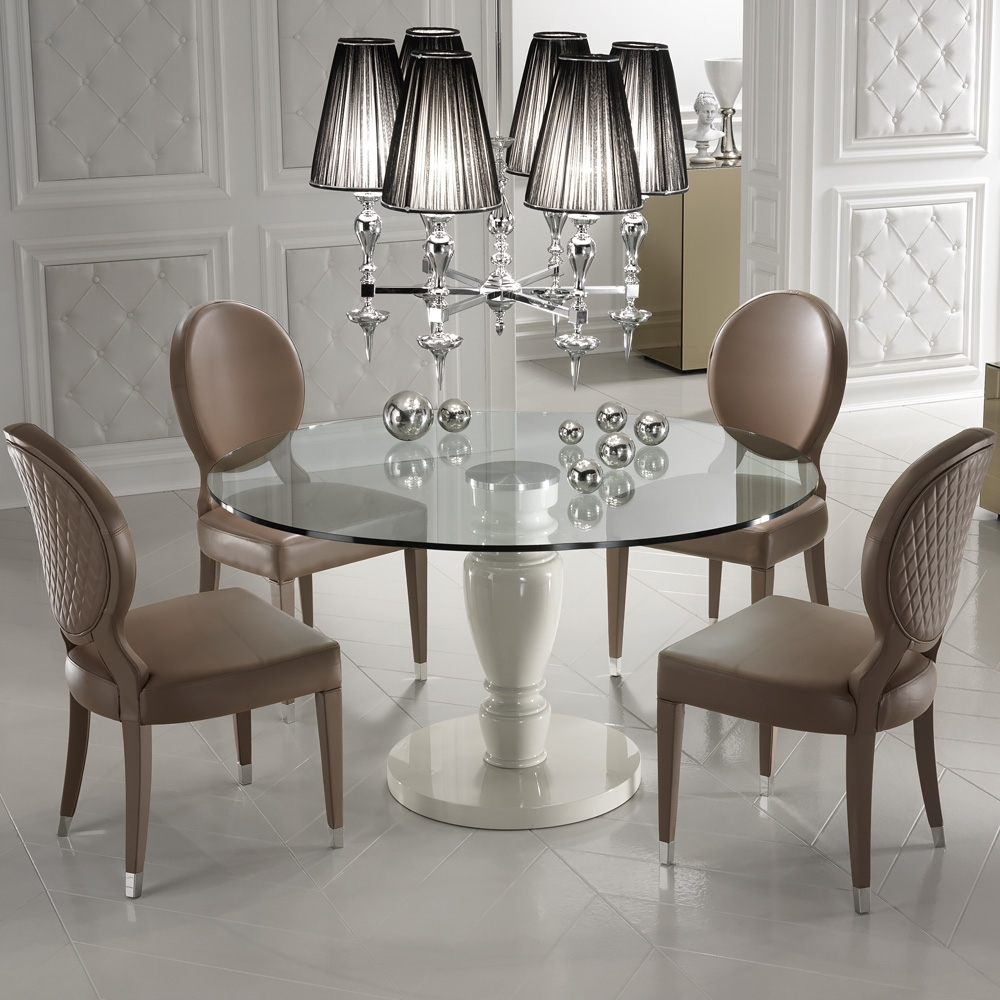 Preferred Designer Italian Leather Dining Chair And Glass Dining Table Set Throughout Glass Dining Tables And Leather Chairs (View 19 of 25)