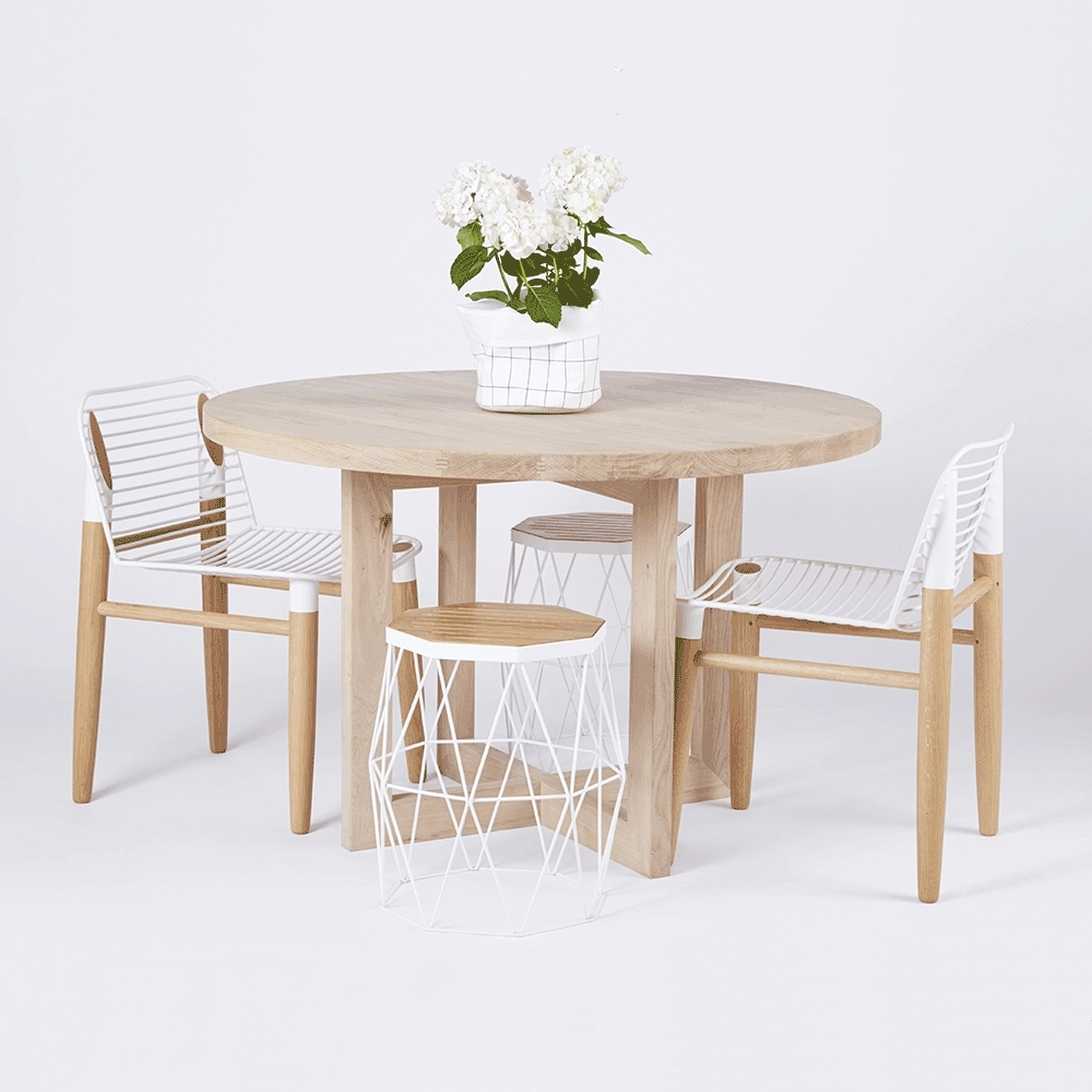 Preferred Designer Round Solid Oak Timber Dining Table – Contemporary In Lassen Round Dining Tables (View 5 of 25)