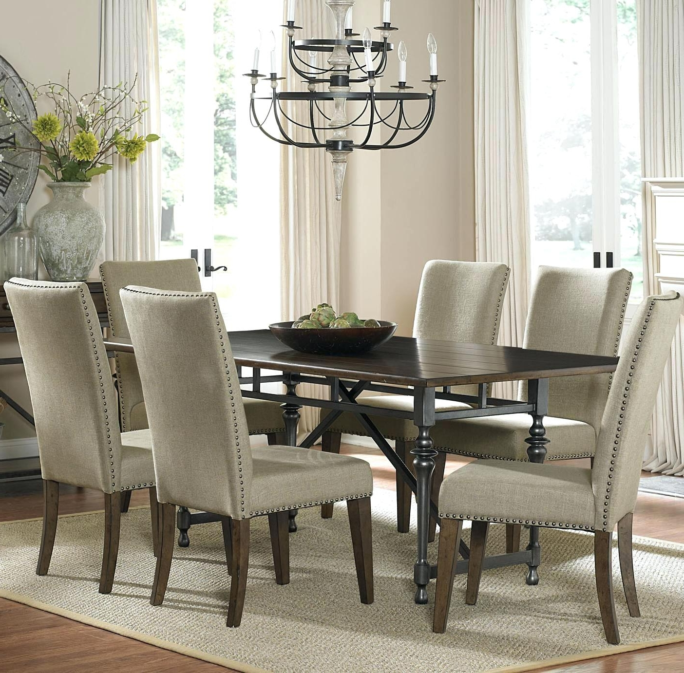 Preferred Dining Room Table With Upholstered Chairs – Dining Room Designs Within Jaxon 7 Piece Rectangle Dining Sets With Upholstered Chairs (Gallery 19 of 25)