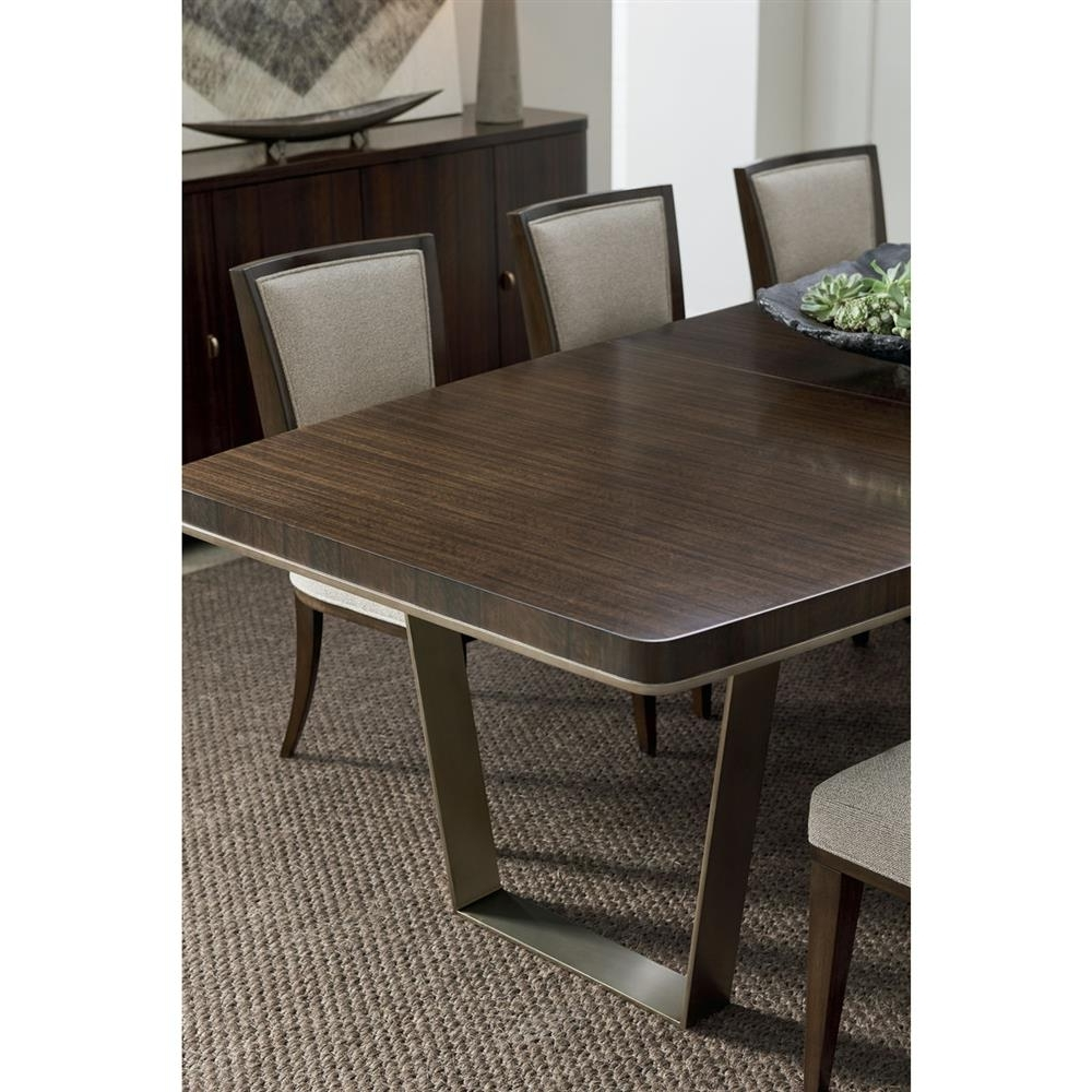 Preferred Dining Tables Dark Wood Throughout Goode Modern Classic Dark Wood Bronze Expandable Industrial Dining Table (View 22 of 25)