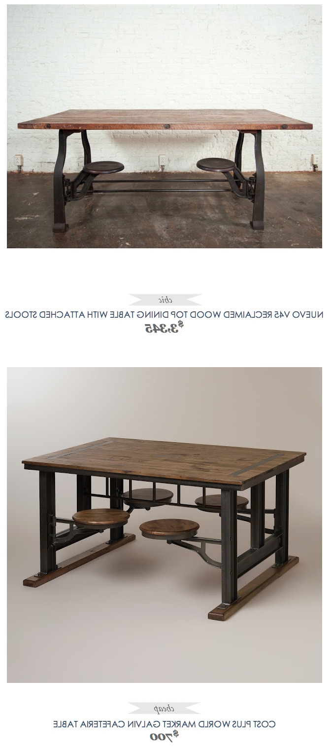 Preferred Dining Tables With Attached Stools Regarding Nuevo V45 Reclaimed Wood Top Dining Table With Attached Stools (View 19 of 25)