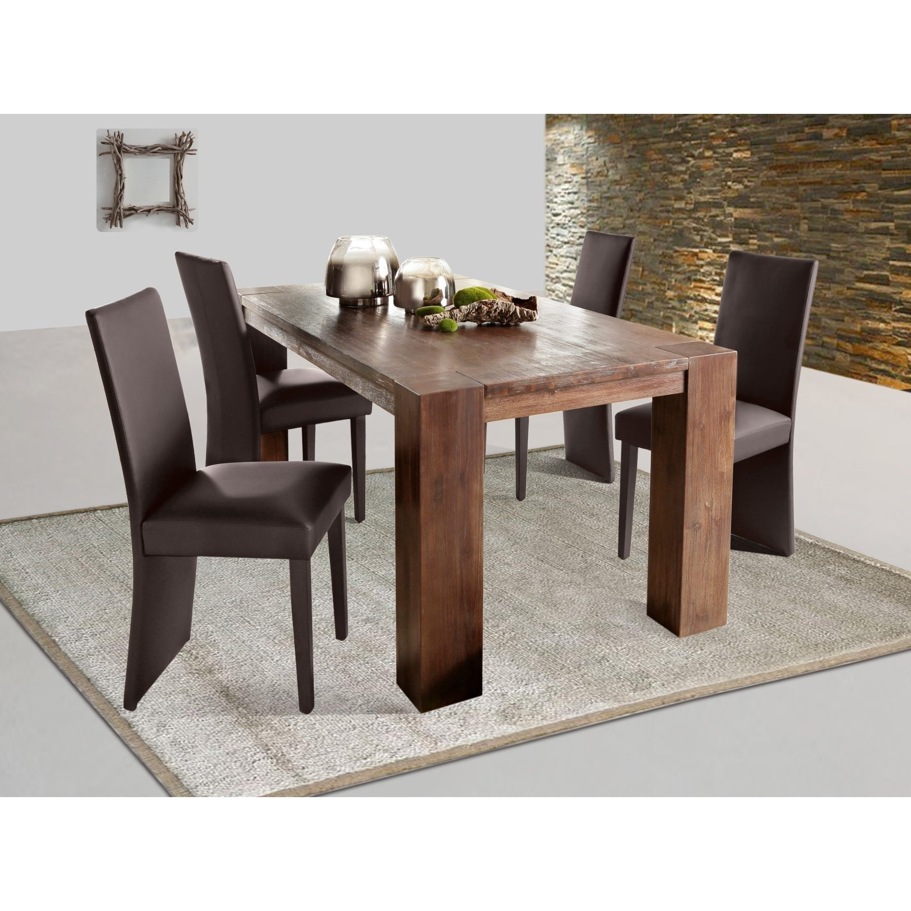 Preferred Dining Tables With Large Legs Intended For Shop Acacia Wide Leg Large Dining Table – Free Shipping Today (View 25 of 25)