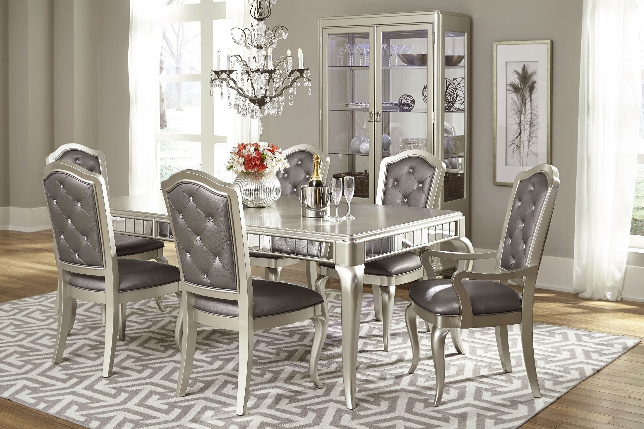Preferred Diva Metallic Rectangular Leg Dining Table (View 15 of 25)