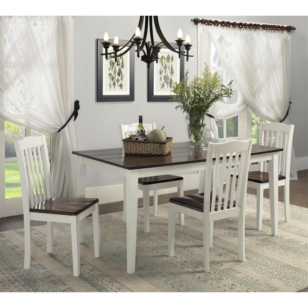 Preferred Dorel Living Shiloh 5 Piece Creamy White / Rustic Mahogany Dining Inside White Dining Tables Sets (View 5 of 25)