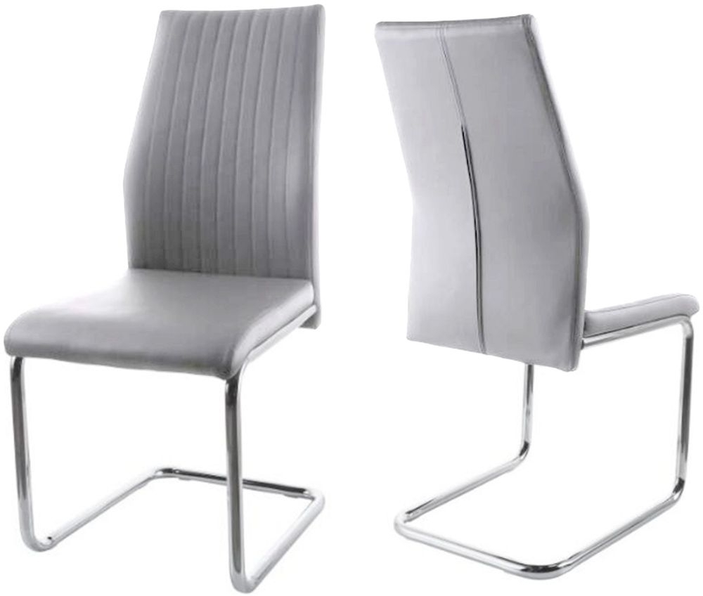 Preferred Essen Light Grey Faux Leather Dining Chair With Chrome Legs (Pair) Within Grey Leather Dining Chairs (Gallery 15 of 25)