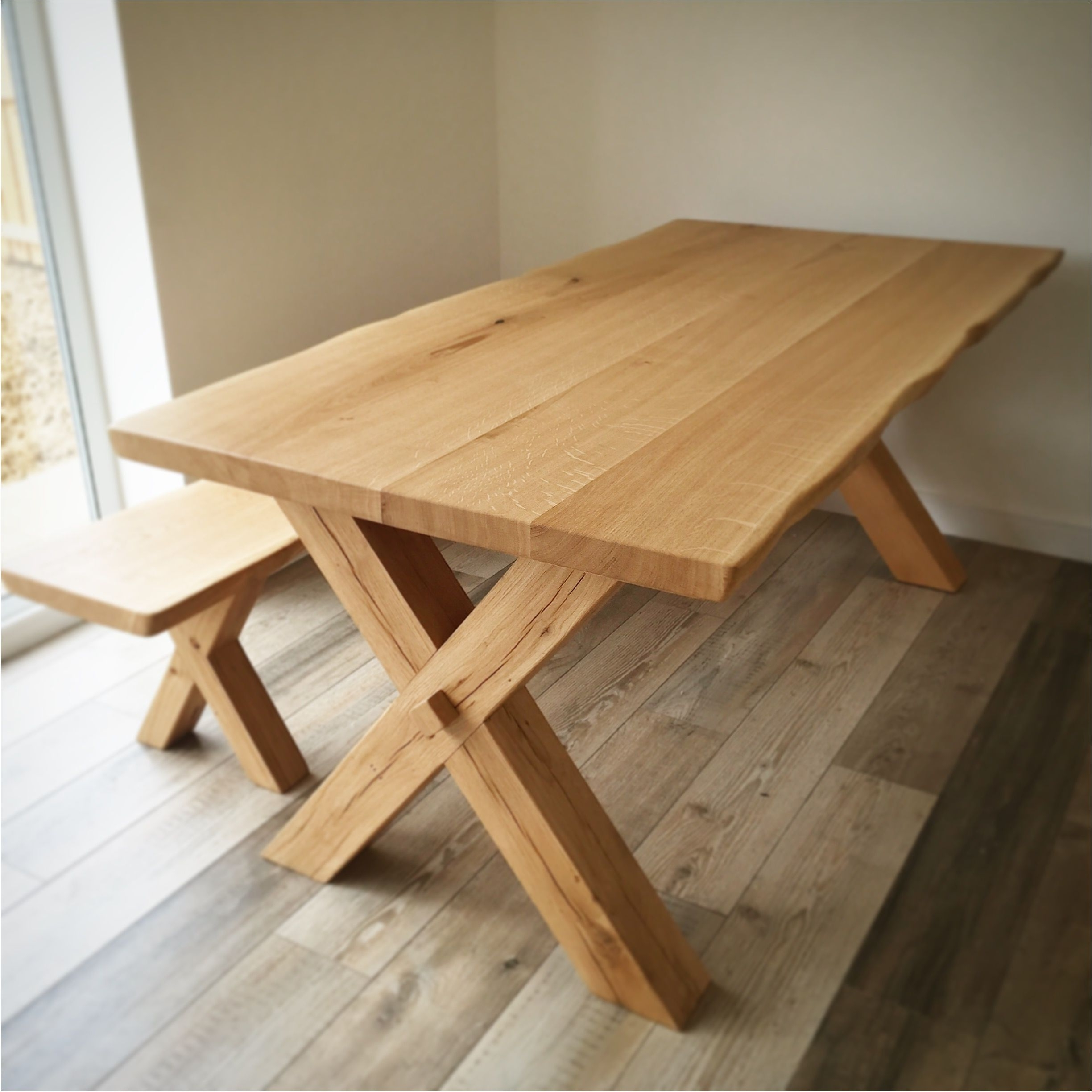 Preferred Excellently Solid Oak Dining Table Cross Leg Design Handmade In The Within Chunky Solid Oak Dining Tables And 6 Chairs (View 18 of 25)