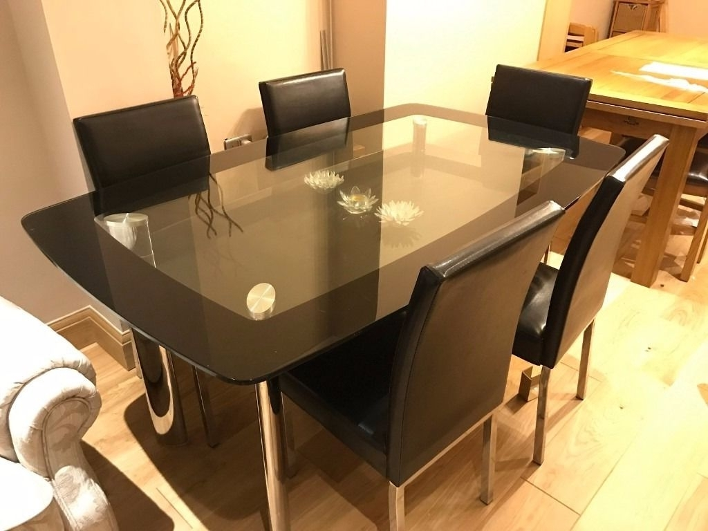 Preferred Glass Dining Table Set With 6 Chairs – Black And Chrome Finish Intended For Dining Table Sets With 6 Chairs (View 21 of 25)