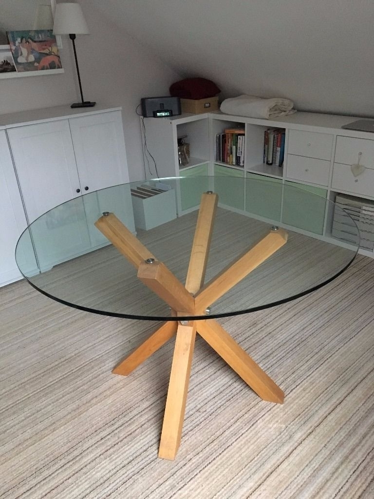 Preferred Glass Dining Tables With Oak Legs Regarding Round Glass Dining Table With 4 'crossed' Oak Legs – Heavy And (View 20 of 25)
