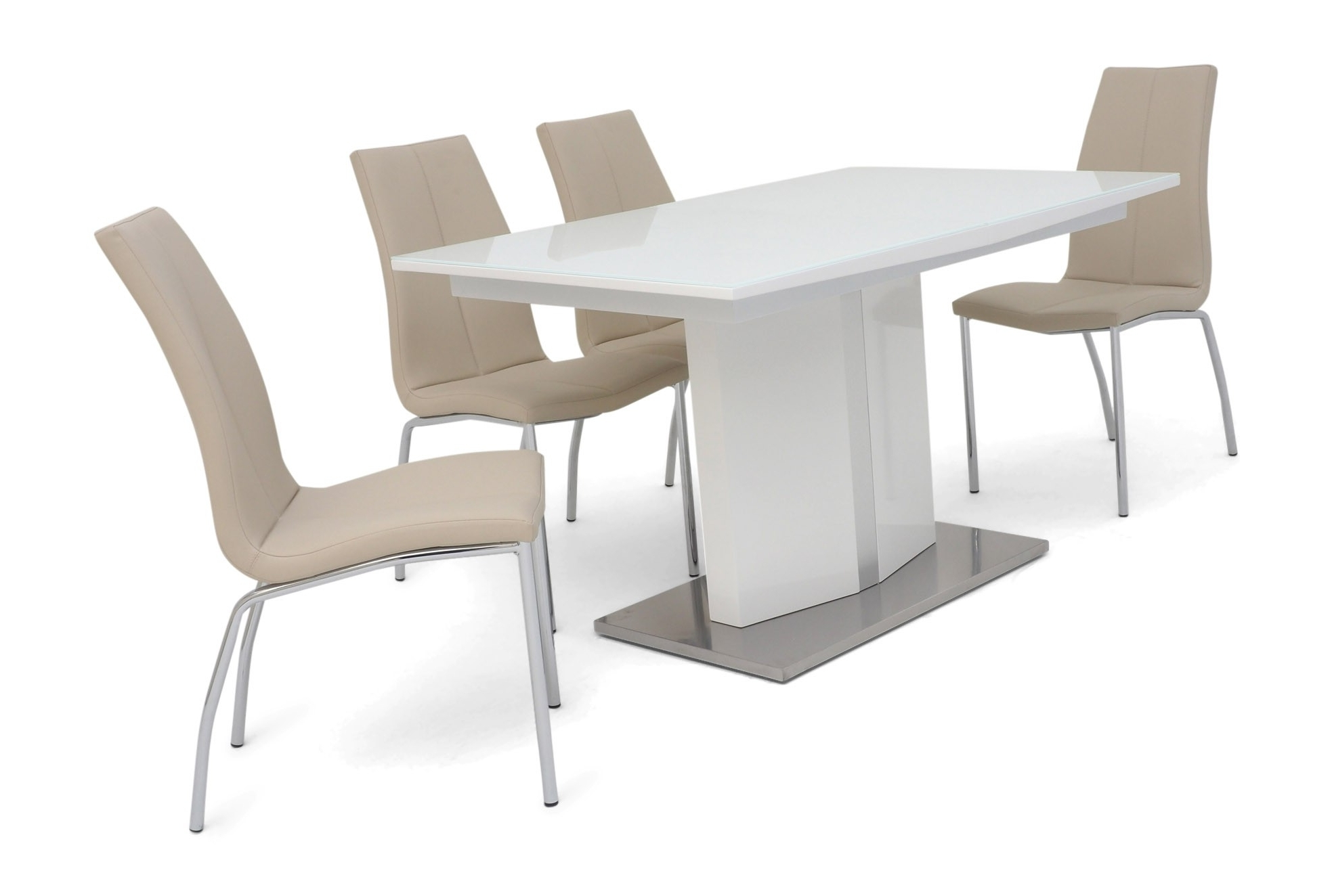 Preferred Gloss White Dining Tables And Chairs In Sebastian White Gloss Extendable Dining Table 130 Cm 6 8 Seater (View 22 of 25)