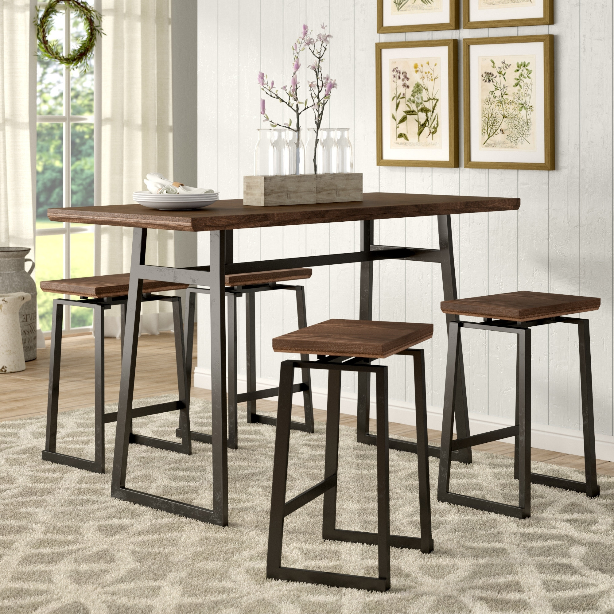 Preferred Gracie Oaks Platane Industrial 5 Piece Counter Height Dining Set In Jaxon 5 Piece Extension Counter Sets With Wood Stools (View 10 of 25)