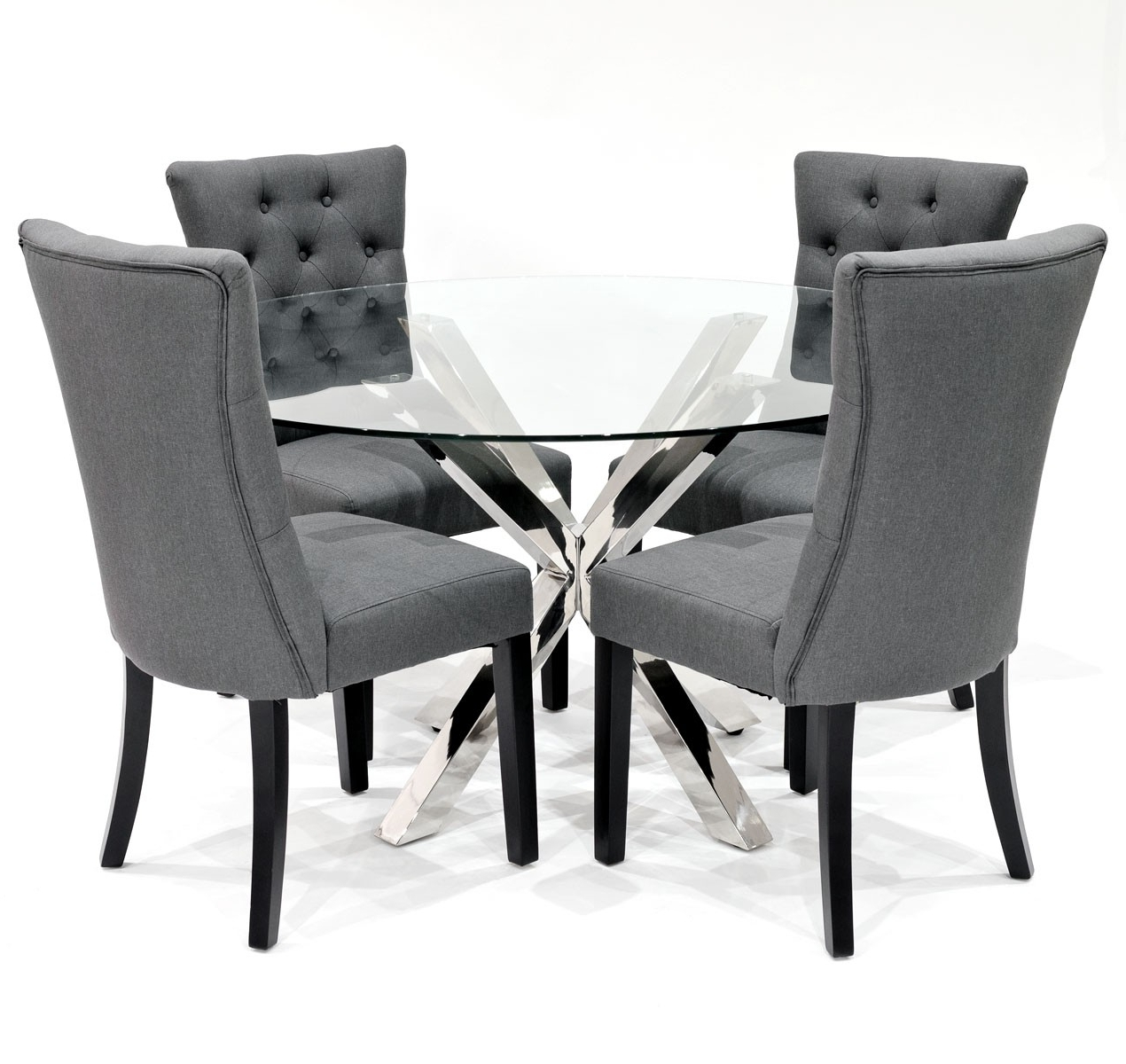 Preferred Grey Dining Chairs Pertaining To Crossly Dining Table And Sanderson Grey Dining Chair Set – Be Fabulous! (Gallery 2 of 25)
