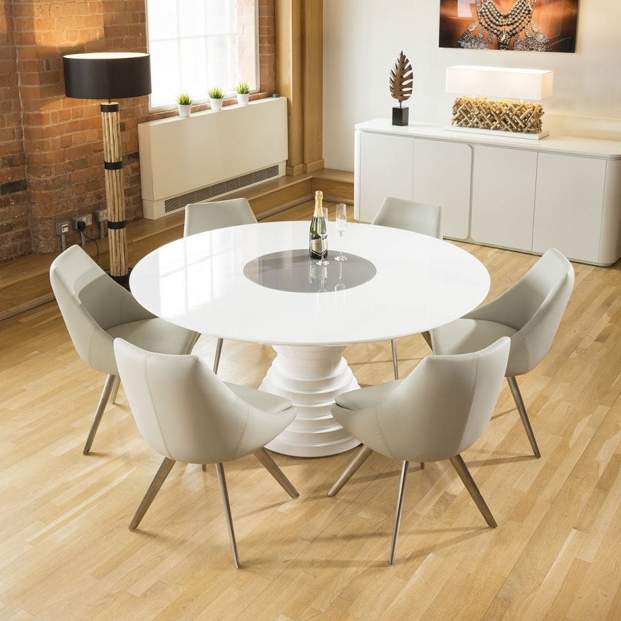 Preferred Grey Gloss Dining Tables Throughout Huge Round White Gloss Dining Table Grey Lazy Susan 6 Ice Grey (View 22 of 25)