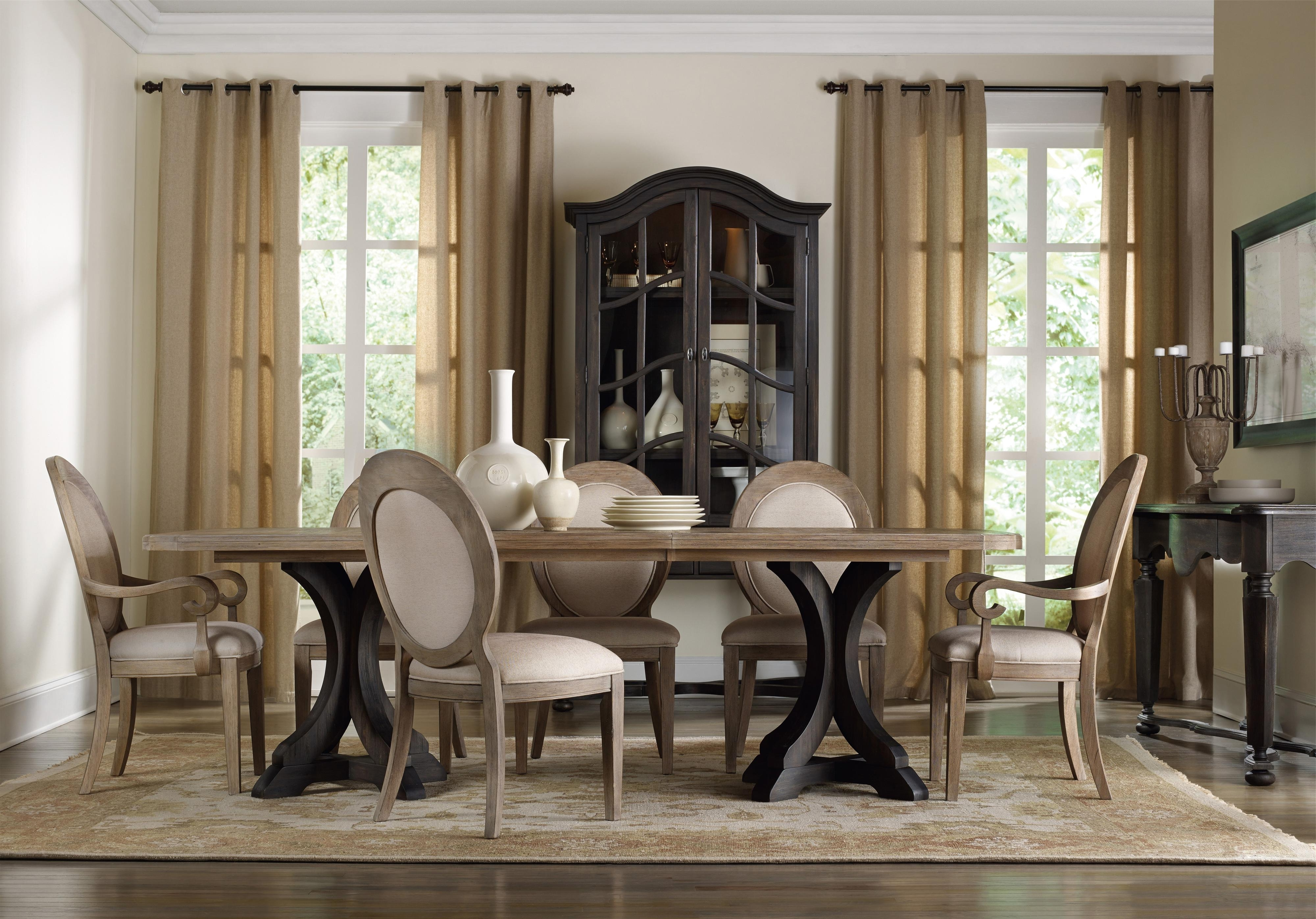 Preferred Hooker Furniture Corsica Rectangle Pedestal Dining Table Set With With Regard To Pedestal Dining Tables And Chairs (Gallery 9 of 25)