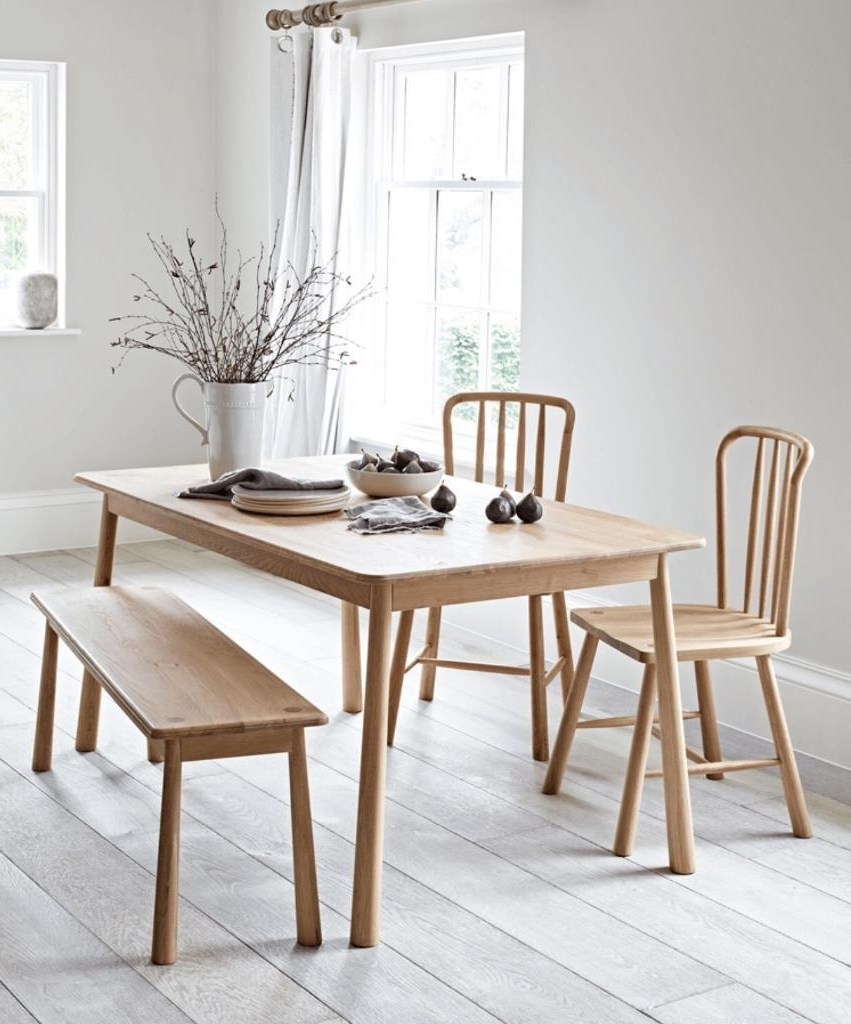 Preferred Hudson Dining Tables And Chairs For Frank Hudson Wycombe Solid Oak Dining Table, 2 Chairs And Bench (View 9 of 25)