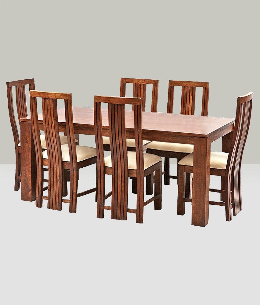 Preferred Indian Dining Tables And Chairs Regarding Ethnic India Art Madrid 6 Seater Sheesham Wood Dining Set With Table (View 21 of 25)